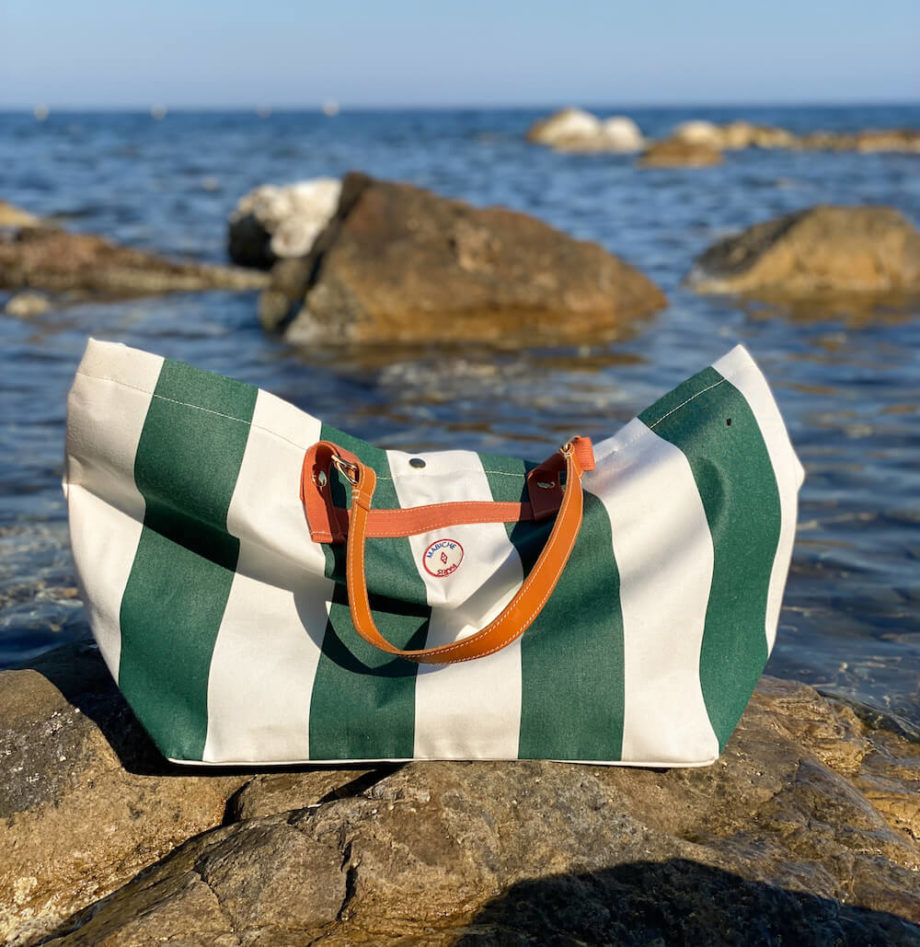 mabiche-paris-cabas-monaco-toile-store-upcycling-rayures-vert-blanc-fond-mer-cuir-tannage-vegetal-fabrication-francaise carre