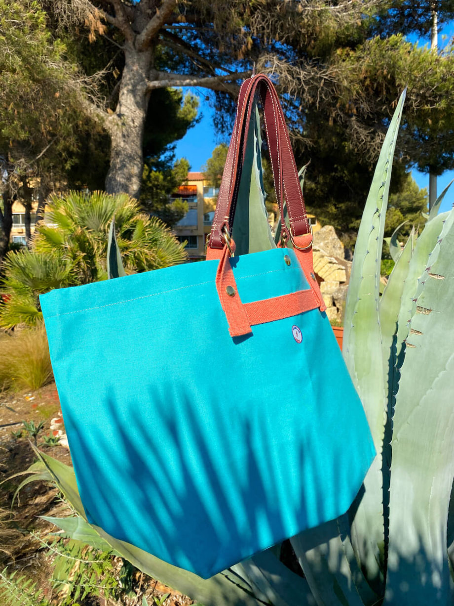 mabiche-paris-cabas-monaco-toile-store-upcycling-turquoise-aloe-vera-cuir-tannage-vegetal-fabrication-francaise